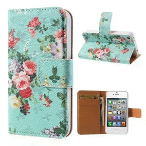 Beautiful Flowers Wallet Leather Stand Case for iPhone 4 4s - Cyan