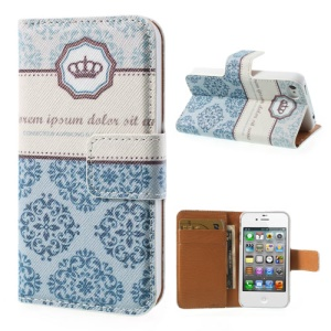 Crown Floral Wallet Leather Stand Cover for iPhone 4 4s
