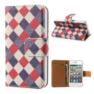 Colorful Checks Stand Leather Wallet Cover for iPhone 4 4s