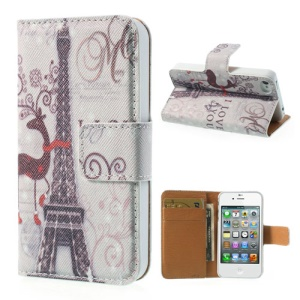 Eiffel Tower Stand Leather Wallet Case for iPhone 4 4s