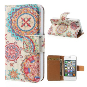 Colorized Flowers Wallet Leather Case for iPhone 4 4s w/ Stand