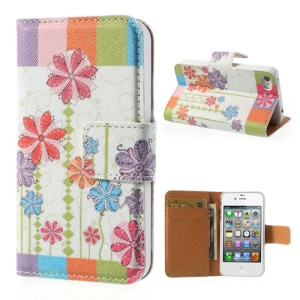 Colorized Stripes Flowers Wallet Leather Cover for iPhone 4 4s w/ Stand