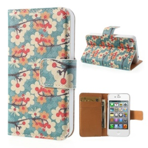 Vivid Flowers Wallet Leather Magnetic Case for iPhone 4 4s - Green