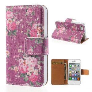 Vivid Flowers Wallet Leather Magnetic Cover for iPhone 4 4s - Purple