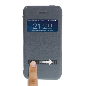 Grey LLMM for iPhone 4s 4 View Window Touch Slide Leather Cover Stand