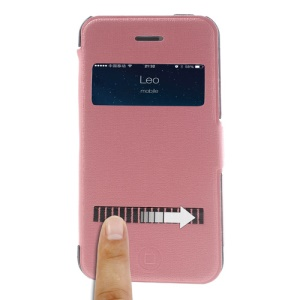 Pink LLMM for iPhone 4s 4 View Window Touch Slide Leather Cover Stand