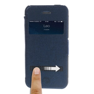 Dark Blue LLMM for iPhone 4s 4 View Window Touch Slide Leather Case Stand