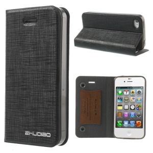 Black for iPhone 4s 4 ZHUDIAO Cobweb Series Double Suckers Leather Stand Case