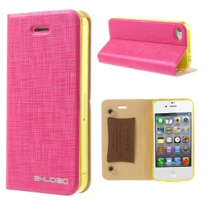 Rose for iPhone 4s 4 ZHUDIAO Cobweb Series Double Suckers Leather Stand Case