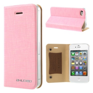 Pink for iPhone 4s 4 ZHUDIAO Cobweb Series Double Suckers Leather Stand Case