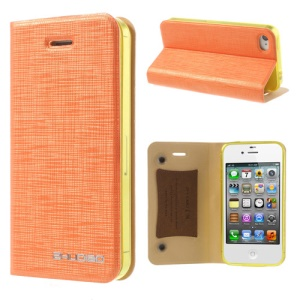 Orange for iPhone 4s 4 ZHUDIAO Cobweb Series Double Suckers Leather Stand Case