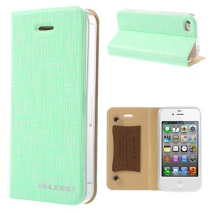 Green for iPhone 4s 4 ZHUDIAO Cobweb Series Double Suckers Leather Cover