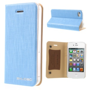 Light Blue for iPhone 4s 4 ZHUDIAO Cobweb Series Double Suckers Leather Cover