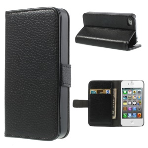 Black for iPhone 4s 4 Litchi Leather Diary Stand Case