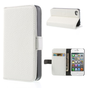 White for iPhone 4s 4 Litchi Leather Diary Stand Case