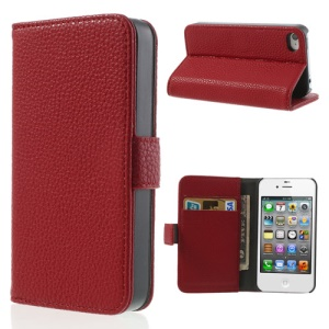 Red for iPhone 4s 4 Litchi Leather Diary Stand Case
