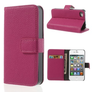 Rose for iPhone 4s 4 Litchi Leather Diary Stand Cover