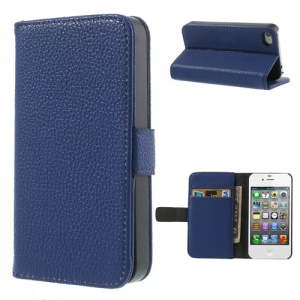 Dark Blue for iPhone 4s 4 Litchi Leather Diary Stand Case