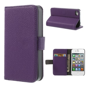 Purple for iPhone 4s 4 Litchi Leather Diary Stand Cover