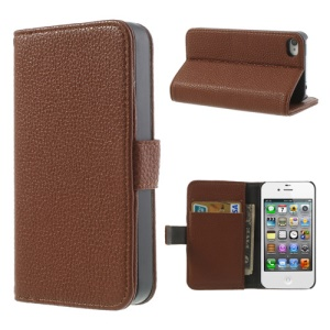 Brown for iPhone 4s 4 Litchi Leather Diary Stand Cover