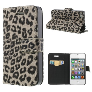 Leopard Card Slot Leather Stand Cover for iPhone 4 4S - Grey