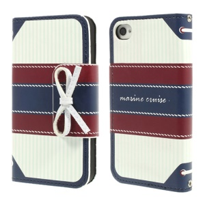 Blue MR.H Marine Cruise Series for iPhone 4 4s Stripe Leather Diary Case