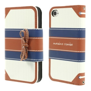 Brown MR.H Marine Cruise Series for iPhone 4 4s Stripe Leather Diary Cover