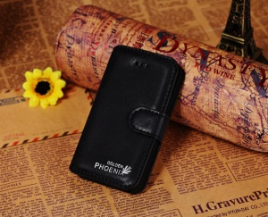 Golden Phoenix for iPhone 4s 4 Genuine Split Leather Flip-Open Wallet Case - Black