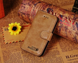 Golden Phoenix for iPhone 4s 4 Genuine Split Leather Flip-Open Wallet Cover - Khaki