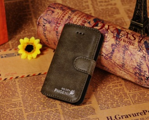 Golden Phoenix for iPhone 4s 4 Genuine Split Leather Flip-Open Wallet Case - Green