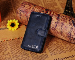 Golden Phoenix for iPhone 4s 4 Genuine Split Leather Flip-Open Wallet Case - Blue