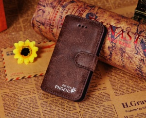 Golden Phoenix Genuine Split Leather Flip-Open Wallet Cover for iPhone 4s 4 - Coffee