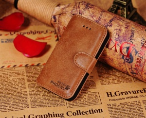 Golden Phoenix Genuine Split Leather Flip-Open Wallet Cover for iPhone 4s 4 - Brown