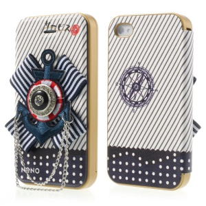 Neno Blue 3D Marine Anchor Emblem Detachable PC Bumper Flip Leather Case for iPhone 4 4S