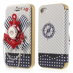 Neno Red 3D Marine Anchor Emblem PC Bumper Flip Leather Case for iPhone 4 4S