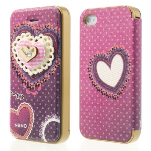 Neno Lovely 3D Heart Design PC Bumper Flip Leather Case for iPhone 4 4S