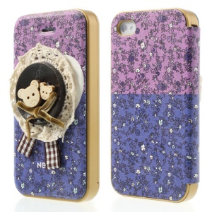 Neno Cute Bears 3D Pattern Detachable PC Bumper Flip Leather Cover for iPhone 4 4S