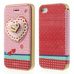 Neno Pink 3D Heart Detachable PC Bumper Flip Leather Cover for iPhone 4 4S