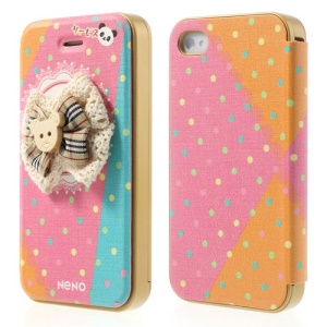 Neno 3D Bowknot & Colorful Dots for iPhone 4 4S Flip Leather Cover w/ Detachable PC Bumper