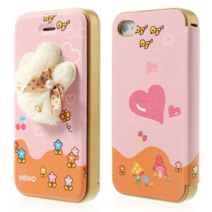 Neno for iPhone 4 4S Flip Leather Shell w/ Detachable PC Bumper 3D Cute Plush Bunny