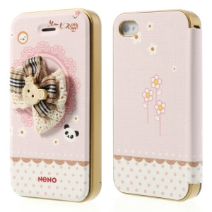 Neno for iPhone 4 4S Flip Leather Cover w/ Detachable PC Bumper 3D Bear Head Bowknot Design