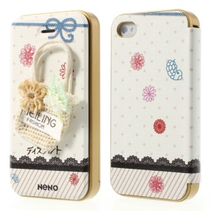 Neno for iPhone 4 4S Flip Leather Shell w/ Detachable PC Bumper Lace Knit Bag 3D Design