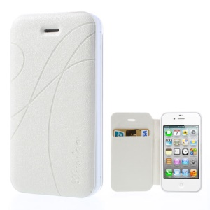 White Yastoo for iPhone 4 4s Arc Line Silk Leather Card Slot Shell