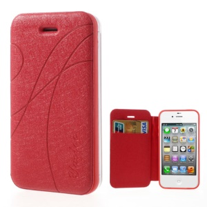 Red Yastoo for iPhone 4 4s Arc Line Silk Leather Card Slot Shell