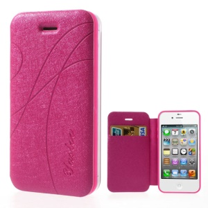 Rose Yastoo for iPhone 4 4s Arc Line Silk Leather Card Slot Case