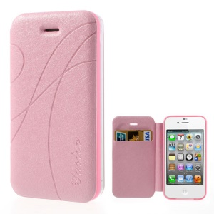 Pink Yastoo for iPhone 4 4s Arc Line Silk Leather Card Slot Case