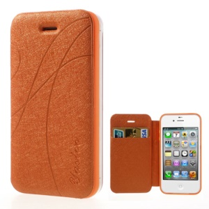 Orange Yastoo for iPhone 4 4s Arc Line Silk Leather Card Slot Case