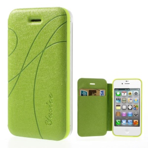 Green Yastoo for iPhone 4 4s Arc Line Silk Leather Card Slot Cover