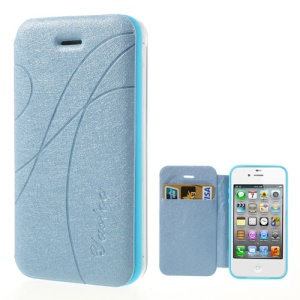 Baby Blue Yastoo for iPhone 4 4s Arc Line Silk Leather Card Slot Cover