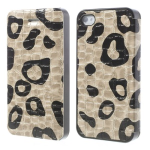 White Flower Show Slim Crocodile Spot Flip Leather Case for iPhone 4s 4